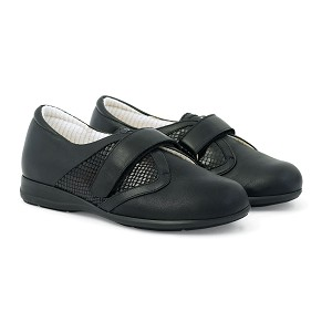 Zapato Señora Dos Velcros Lycra Color Negro