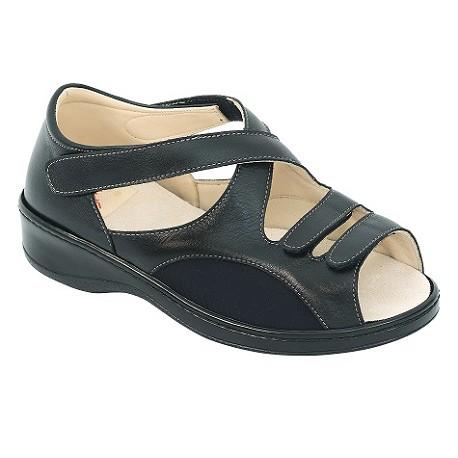 Zapato Doble Velcro Lycra Color Negro
